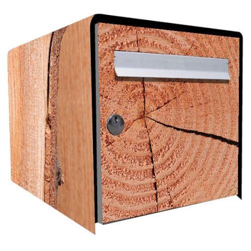 Stickers bo te aux lettres d co brut de bois for Stickers pour meuble en bois