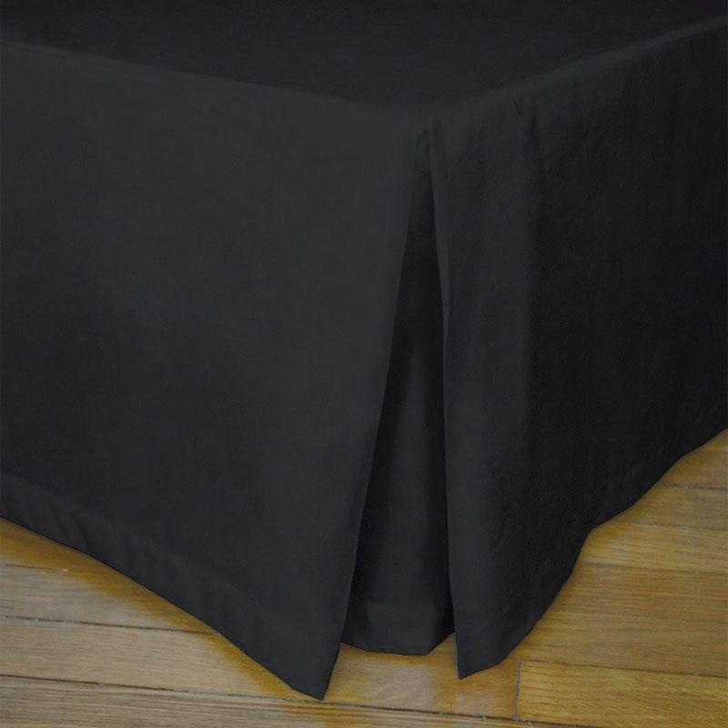 Cache sommier plis creux noir percale 200x200   Linge de maison