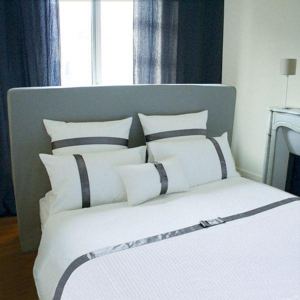 housse de couette judy g blanc gris percale 260x240 linge de maison. Black Bedroom Furniture Sets. Home Design Ideas