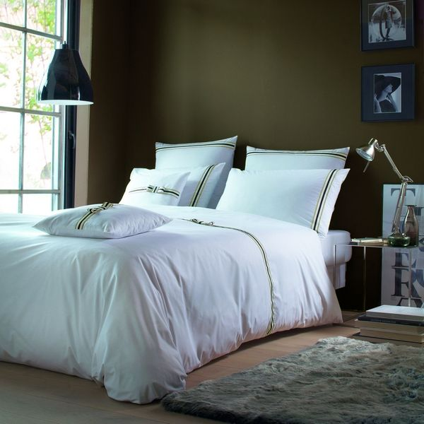 housses de couette percale rigato noeud blanc choco lin 200x200 liou. Black Bedroom Furniture Sets. Home Design Ideas