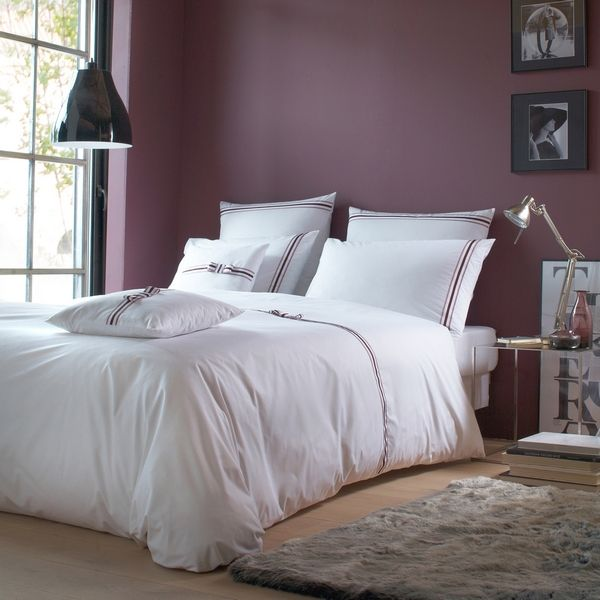 housses de couette percale rigato noeud blanc prune rose 200x200 linge de maison. Black Bedroom Furniture Sets. Home Design Ideas