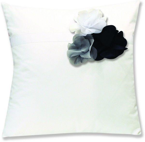 housses de coussin percale botanique blanc fleurs blanc gris noir 40x40. Black Bedroom Furniture Sets. Home Design Ideas