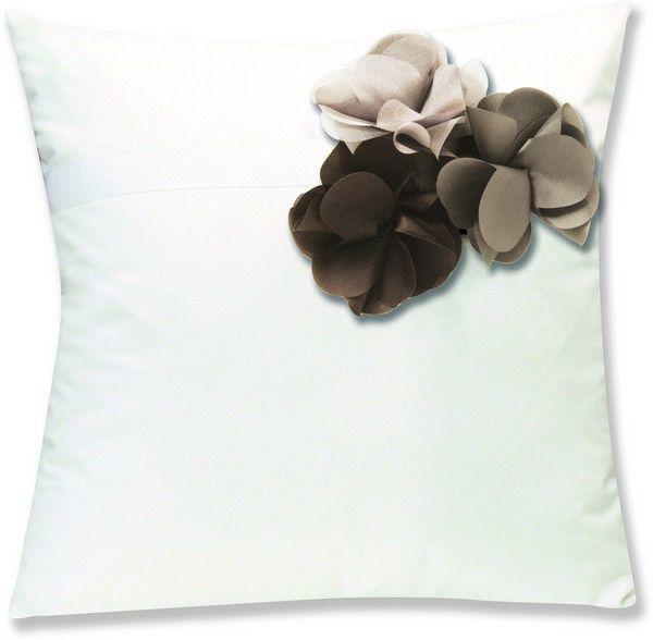 housses de coussin percale botanique blanc fleurs marron taupe beige 40x40. Black Bedroom Furniture Sets. Home Design Ideas
