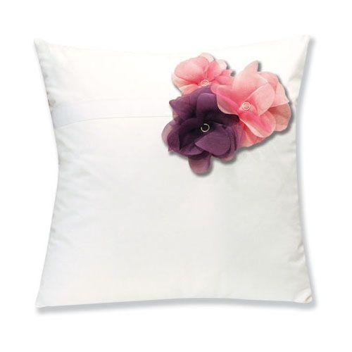 Housses de coussin percale botanique blanc fleurs rose for Housses de coussin 40x40