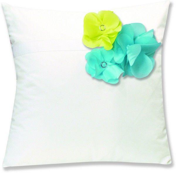 Housses de coussin percale botanique blanc fleurs for Housses de coussins 40x40