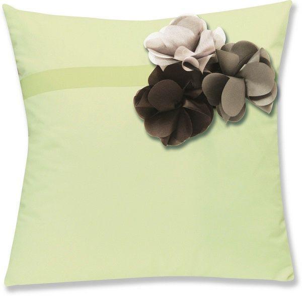 Housses de coussin percale botanique lin fleurs marron for Housses de coussins 40x40