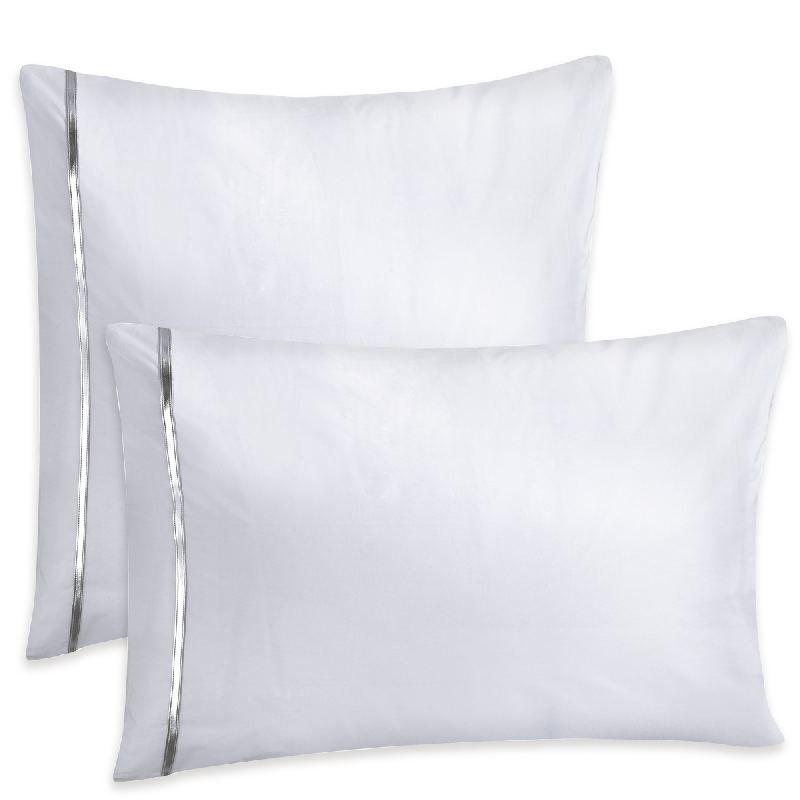 taie d 39 oreiller kim blanc percale 50x75 linge de maison. Black Bedroom Furniture Sets. Home Design Ideas