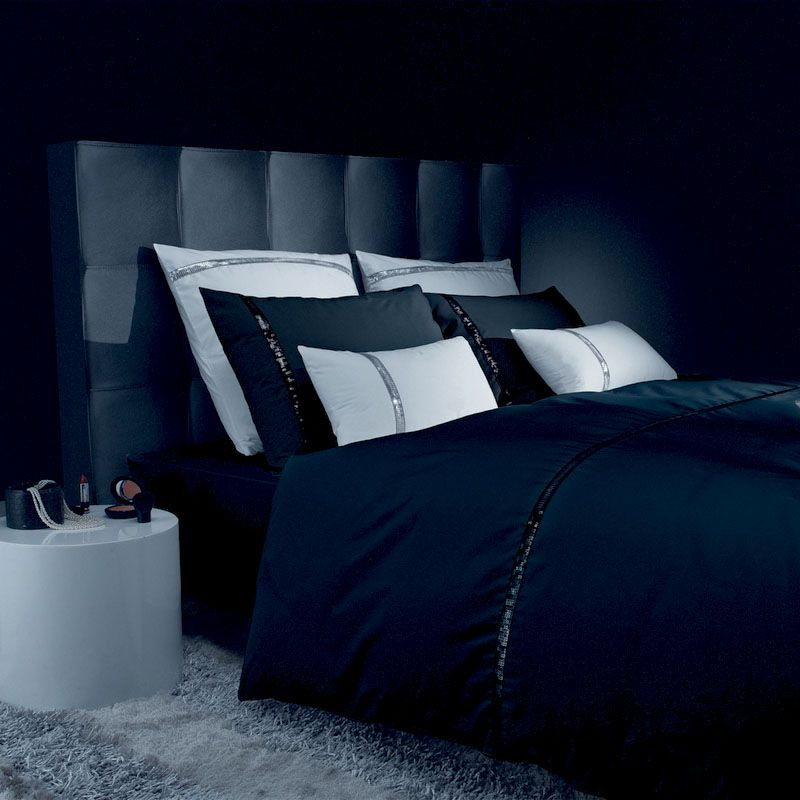 taie d 39 oreiller liz t noir percale 50x75 linge de maison. Black Bedroom Furniture Sets. Home Design Ideas