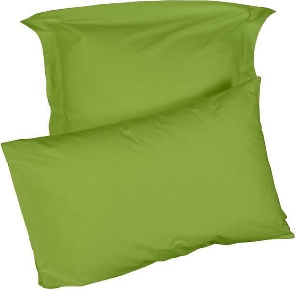 taie d 39 oreiller percale les unies vert amande 50x75 linge de maison. Black Bedroom Furniture Sets. Home Design Ideas