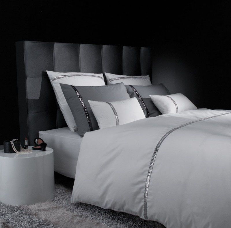 taie d 39 oreiller percale liz t blanc argent 65x65 liou. Black Bedroom Furniture Sets. Home Design Ideas