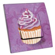 Interrupteur décoré Cupcake violet simple - Decorupteur