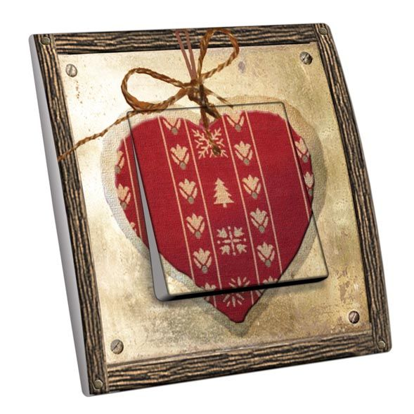 Interrupteur décoré Montagne / Coeur métal bois Edelweiss simple ...