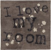 Tapis I love my room gris coton 100x100 - Toulemonde Bochart