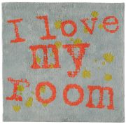 Tapis I love my room multicolore coton 100x100 - Toulemonde Bochart