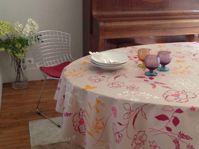 nappe cam lia orange coton enduit 120x120 fleur de soleil. Black Bedroom Furniture Sets. Home Design Ideas