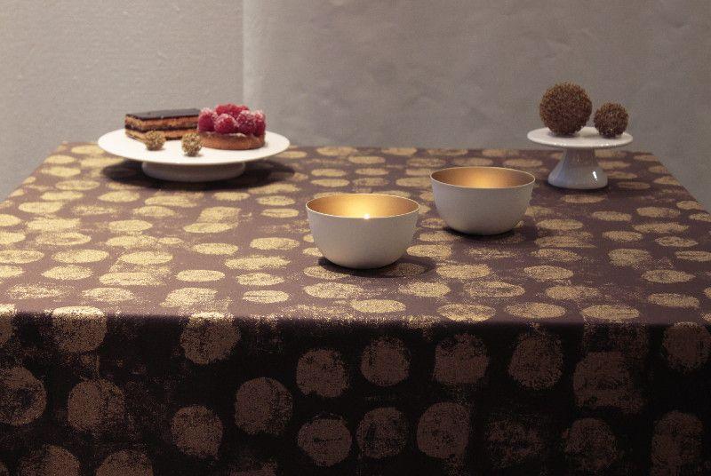 nappe pastille or chocolat coton enduit 120x120 fleur de soleil. Black Bedroom Furniture Sets. Home Design Ideas