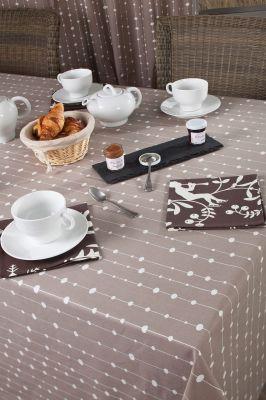 nappe perle taupe coton enduit carr e 160x160 fleur de soleil. Black Bedroom Furniture Sets. Home Design Ideas