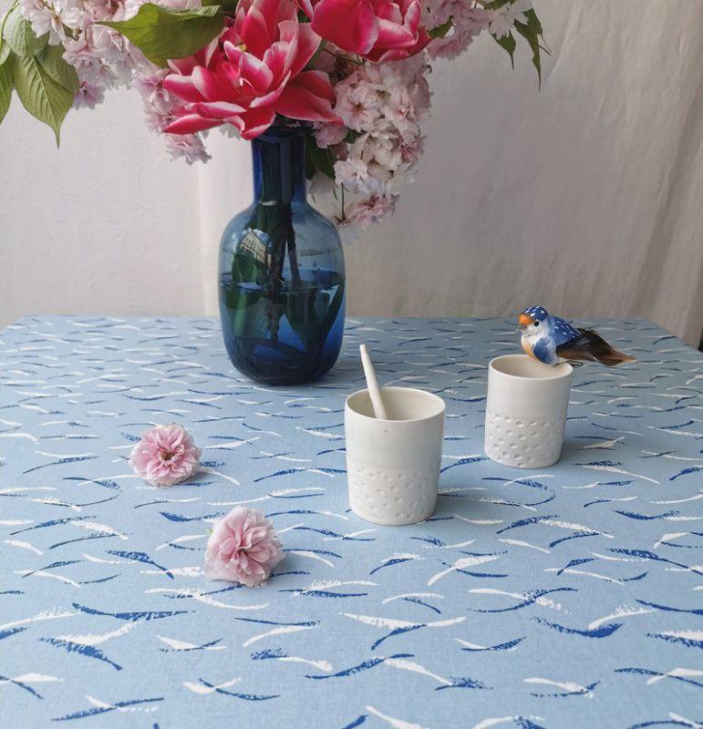 nappe poissons terre mer coton enduit 120x120 fleur de soleil. Black Bedroom Furniture Sets. Home Design Ideas