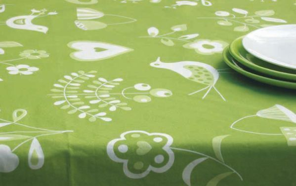 nappe coton enduit folk vert 150x150 fleur de soleil. Black Bedroom Furniture Sets. Home Design Ideas