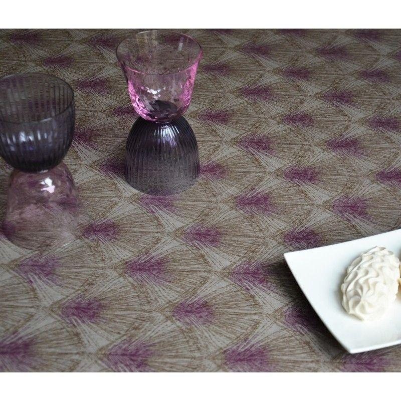 nappe coton enduit plume taupe violine 120x120 fleur de soleil. Black Bedroom Furniture Sets. Home Design Ideas