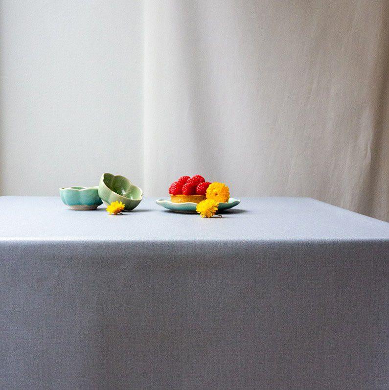 nappe coton enduit unis gris 120x120 fleur de soleil. Black Bedroom Furniture Sets. Home Design Ideas