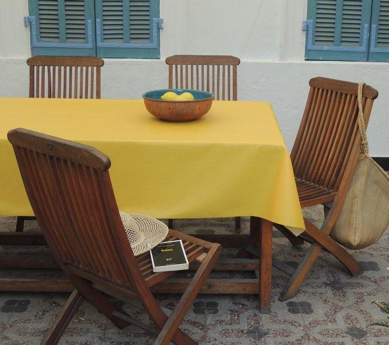 nappe coton enduit unis jaune 120x120 fleur de soleil. Black Bedroom Furniture Sets. Home Design Ideas