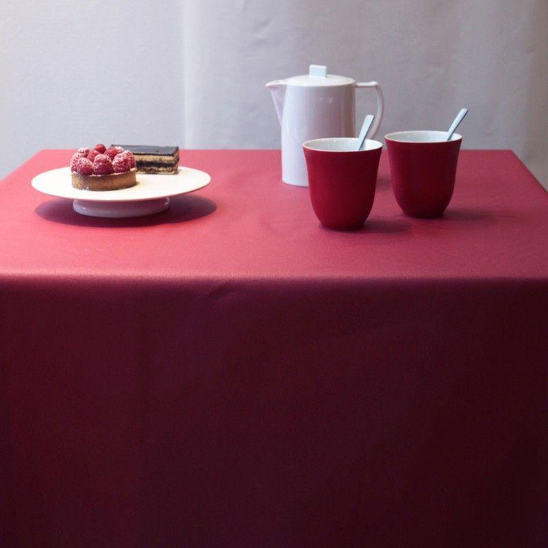 nappe coton enduit unis rouge 120x120 fleur de soleil. Black Bedroom Furniture Sets. Home Design Ideas