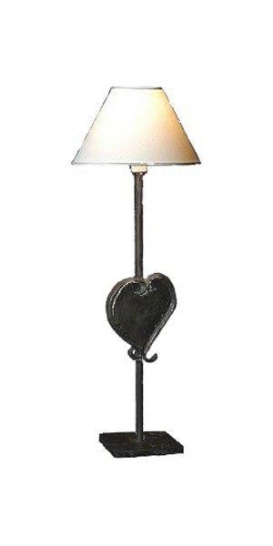 Lampe fer forg coeur for Lampe de chevet fer forge