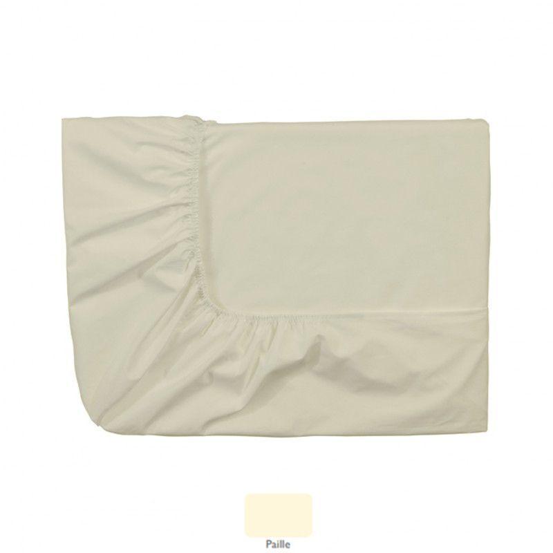 drap housse uni royal line paille percale 140x190. Black Bedroom Furniture Sets. Home Design Ideas