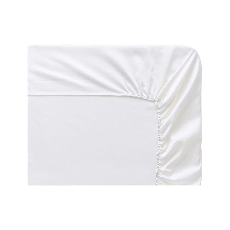 drap housse uni triumph panna cotta satin de coton 90x200 linge de maison. Black Bedroom Furniture Sets. Home Design Ideas