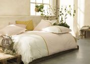 Drap plat Toi et Moi Occitan percale bicolore ruban fleuri jaune 180x290 - Essix Home Collection