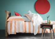 Drap plat satin de coton rayures Holidays orange Melon 180x290 - Essix Home Collection
