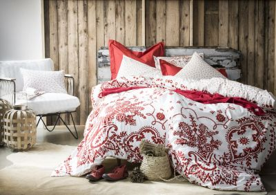 Housse de couette Bandana sienne motif paisley percale 260x240 - Essix Home Collection