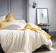 Housse de couette rayé Tempo Jonquille coton Seersucker/percale 140x200 - Essix Home Collection