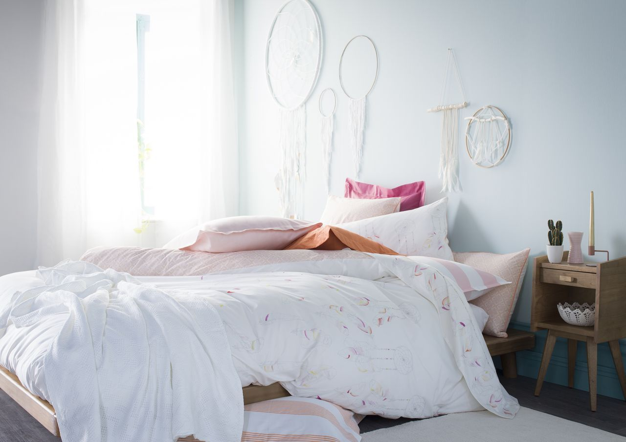 taie d 39 oreiller boho motifs attrapes r ves meringue percale 50x75. Black Bedroom Furniture Sets. Home Design Ideas