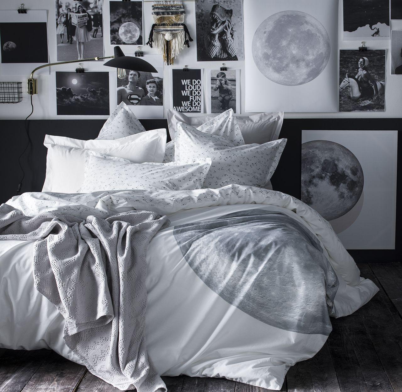 taie d 39 oreiller pleine lune motifs toiles percale 50x75. Black Bedroom Furniture Sets. Home Design Ideas