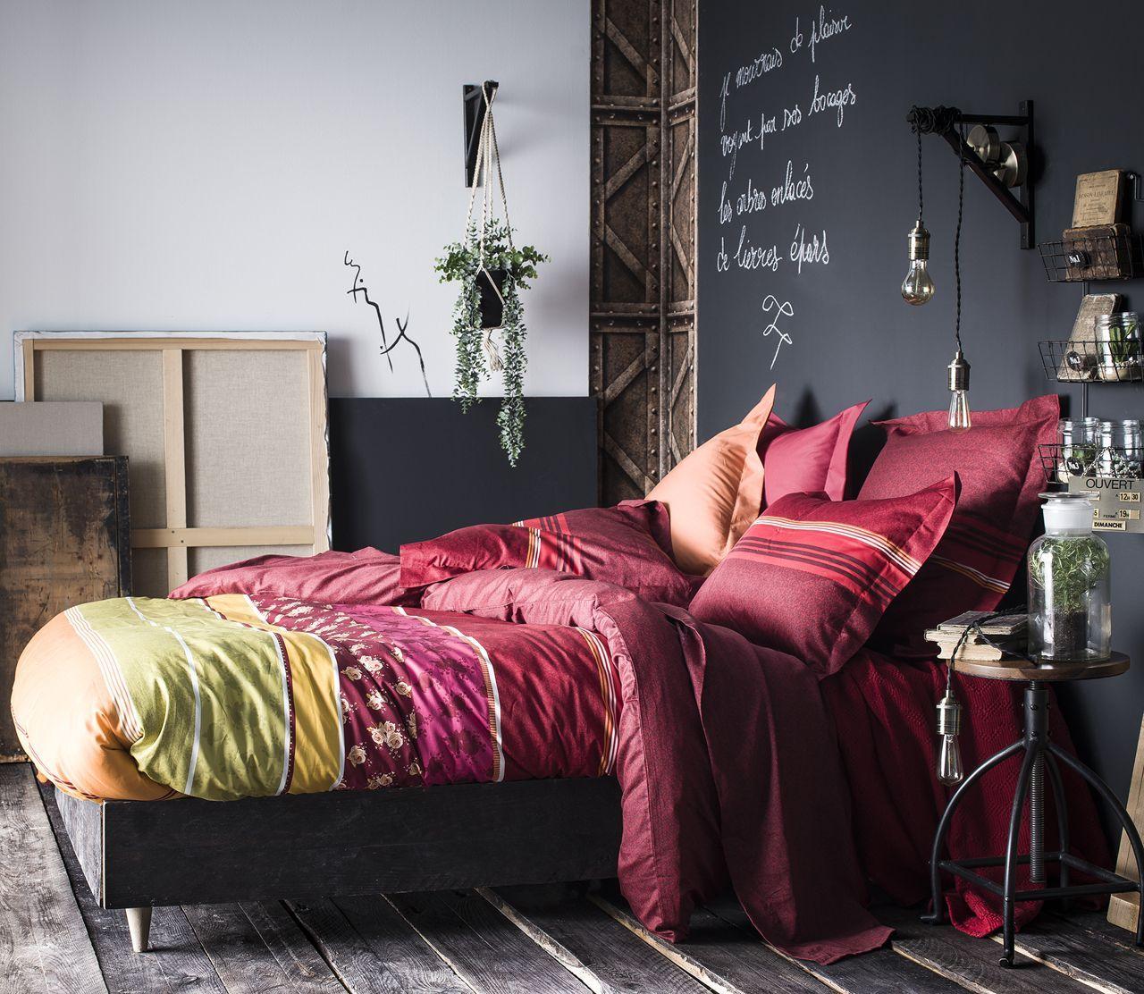 taie d 39 oreiller ressources rayures multicolores satin de coton 50x75. Black Bedroom Furniture Sets. Home Design Ideas