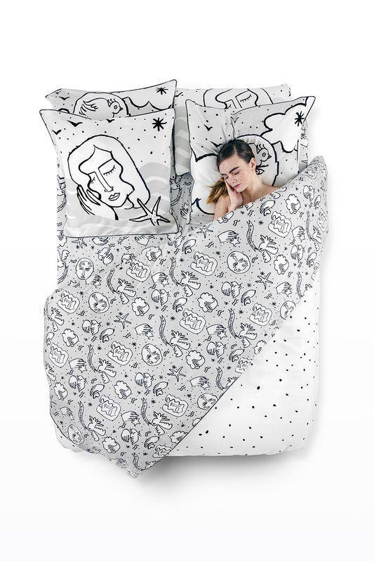 taie d 39 oreiller roi meow et juliette satin de coton 50x75 linge de maison. Black Bedroom Furniture Sets. Home Design Ideas