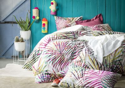 Taie d'oreiller Tropic motifs palmiers multicolore percale 65x65 - Essix Home Collection