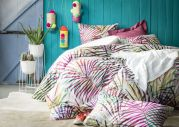 Taie d'oreiller percale motifs palmiers Tropic multicolore 50x75 - Essix Home Collection