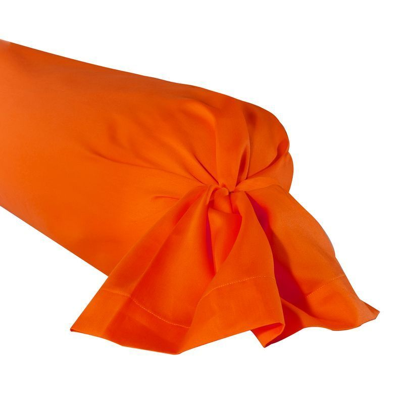 Taie de traversin satin de coton uni triumph mandarine 43x230 - Taie de traversin satin ...