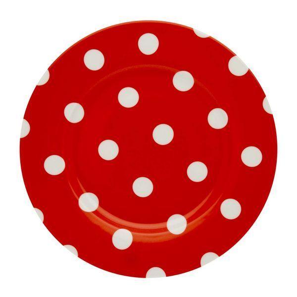 assiette plate pois blanc rouge art de la table. Black Bedroom Furniture Sets. Home Design Ideas