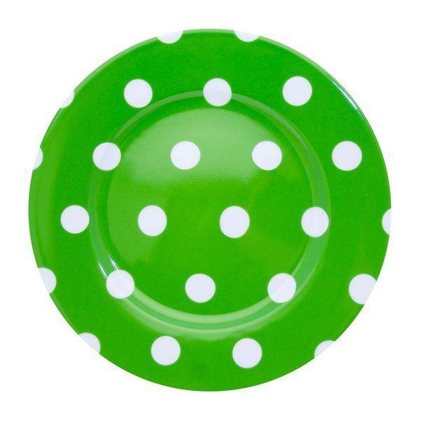 assiette plate pois blanc vert jardin art de la table. Black Bedroom Furniture Sets. Home Design Ideas