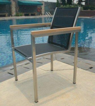 Chaise de jardin batyline et inox Thales noir - Meubles de jardin ...
