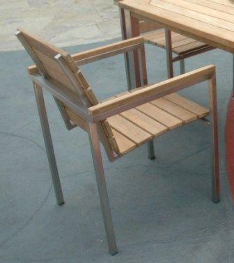 Chaise de jardin teck et inox Thales accoudoirs