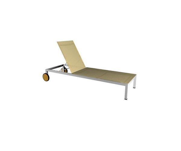 Chaise Longue Teck Inox Toile Thales Beige
