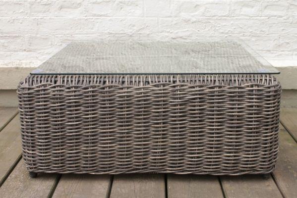 Table basse r sine tress e modulo gris naturel meubles de jardin - Table basse resine tressee ...
