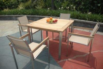 Table de jardin teck et inox Thales carrée