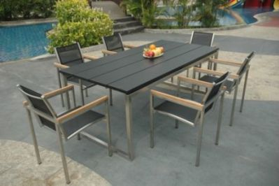 Table de jardin teck et inox Thales noir