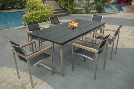 Table de jardin teck et inox Thales noir - Meubles de jardin ...